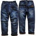 3973 de invierno muy cálido boy jeans pantalones pantalones azul marino muchachos niños ropa de los niños del dril de algodón y de lana double-cubierta gruesa