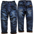 3973 very warm winter boy jeans pants navy blue trousers boys kids children's clothing denim and fleece Double-deck thick