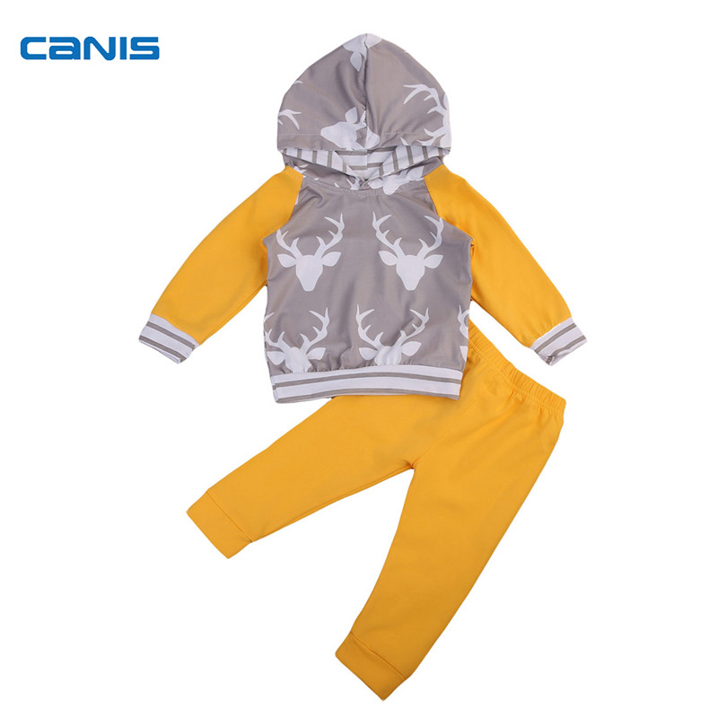 Autumn Newborn Toddler Infant Baby Boy Kid Deer Outfits Clothes Long Sleeve Hooded Tops+Yellow Long Pants 2pcs Set Clothing 1-6T