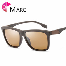 MARC New Fashion Men Sunglasses Polarized Driving Square Shade TR90 Trend Glasses Matte Classic Brown Lens Eyewear UV400 2019 1