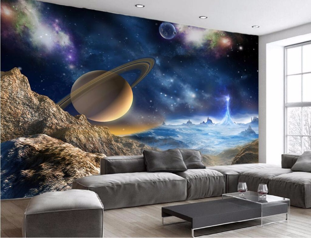 Custom Mural 3d Wallpaper Universe Stars Planets In The Solar System  Painting 3d Wall Murals Wallpaper For Living Room Walls 3 D In Wallpapers  From Home ... Part 42