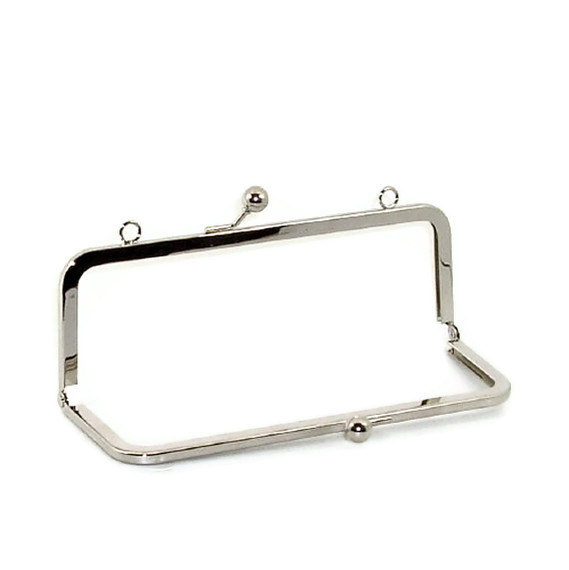 8 X 3 Inch Nickel Purse Frame With Loops FREE SHIPPING