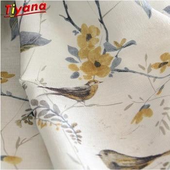 Kuş pamuk keten perdeler yatak odası için karartma ev dekor perde oturma odası için Darpe Rideaux pencere özelleştirilmiş HM305B * 30