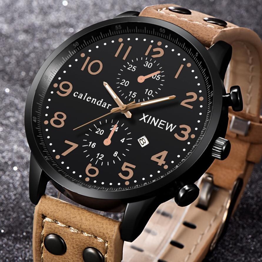 Dropship XINEW Calendar Mens Watches 2019 Luxury Brand Fuax Leather Quartz Watch Sport