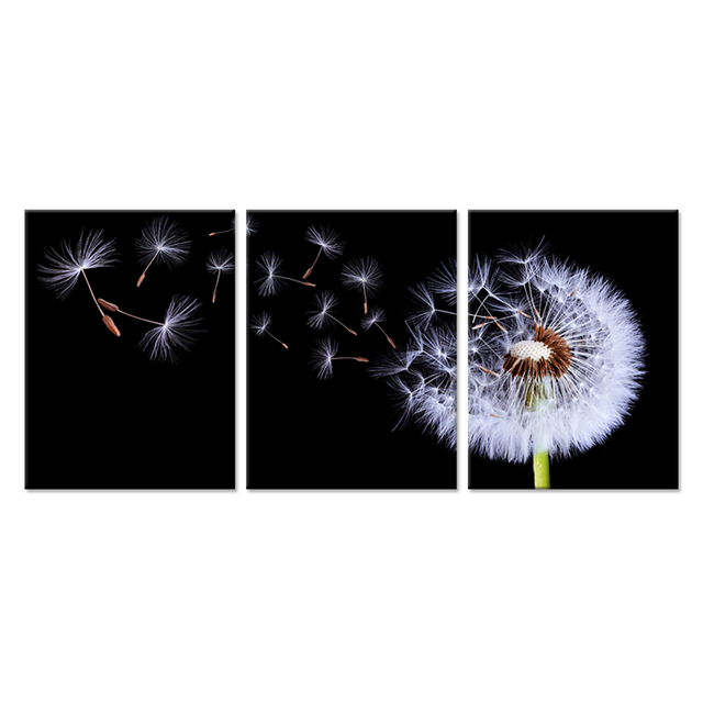 Charming 3 Piece Canvas Wall Art Black And White Fluttering Dandelion Nature Flower  Picture Print On Canvas