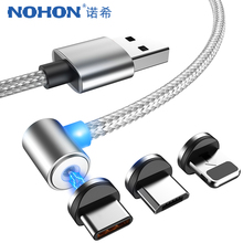 NOHON L-Shape LED Magnet Fast Charger Cable Lighting For iPhone X 7 8 Plus XS MAX XR Micro USB TypeC Magnetic Charge Cables 1/2M гарнитура qcyber roof black red звук 7 1 2 2m usb