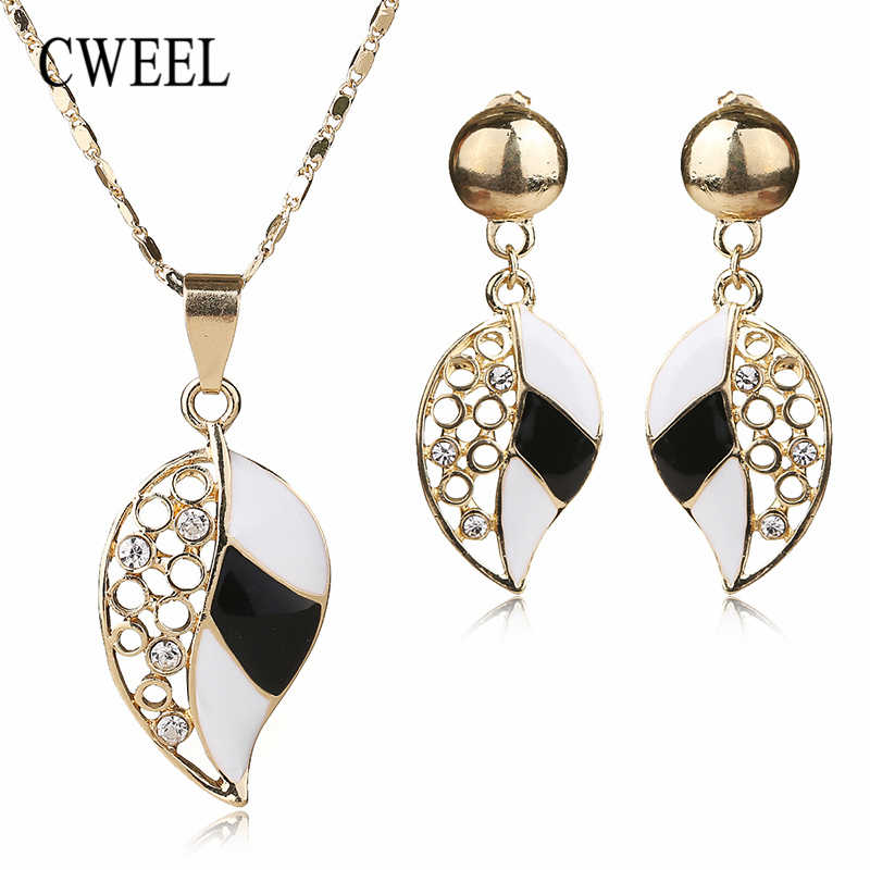 CWEEL Jewelry Sets Wedding African Beads Jewelry Set Gold Color Costume Women Jewelry Set Bridal Imitation Crystal Necklace Sets