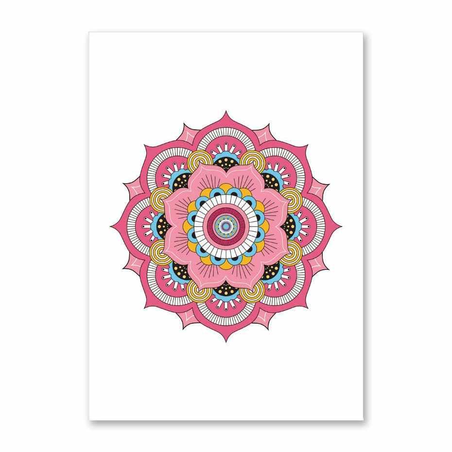 Guzel Cicek Mandala Yoga Tuval Boyama Bohem Tarzi Duvar Sanat