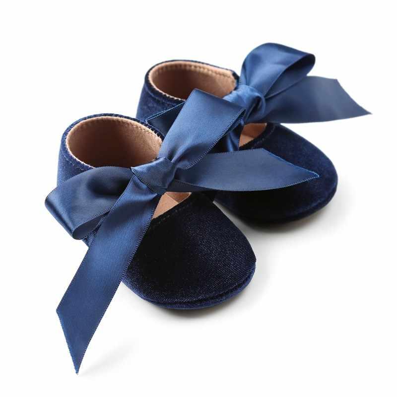 Фото Обувь для маленьких девочек Новорожденный Младенец Первые ходунки обувь Riband лук