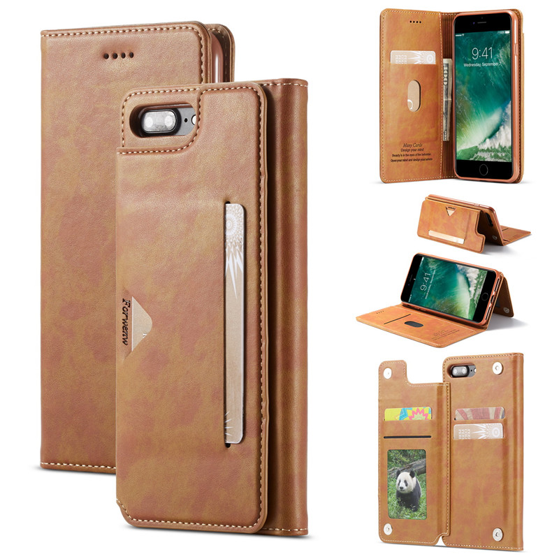 With Card Pocket Bracket Phone Case For iPhone 6 6s 7 8 Plus X XS XR MAX Retro Leather Flip Cover Wallet Multi-card slot Shell