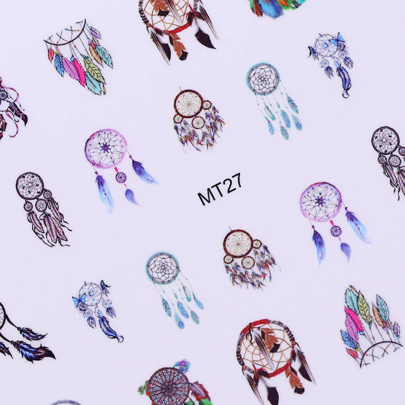 12 Patterns Nail Art Sticker Dream Catcher Fantasy Owl Manicure Nail Decoration DIY Tattoos Manicure Water Transfer Decals oc 08 diy 3d red wine bottle patterns decorative diy nail art sticker black red
