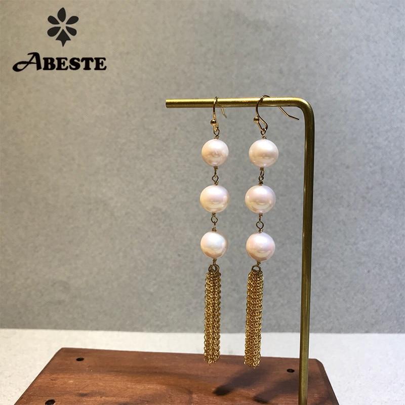 ANI 14k Roll Yellow Gold Women Dangle Earring Natural Freshwater White Pearl Drop Earring Handmade Jewelry