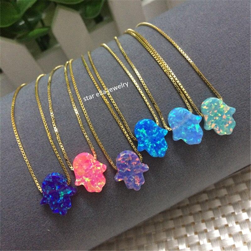 Beads No Moq 11x13mm Op27 Dark Blue Fire Hamsa Opal Pendant Stone Synthetic Opal Hand Shape Fashion Jewelry For Women