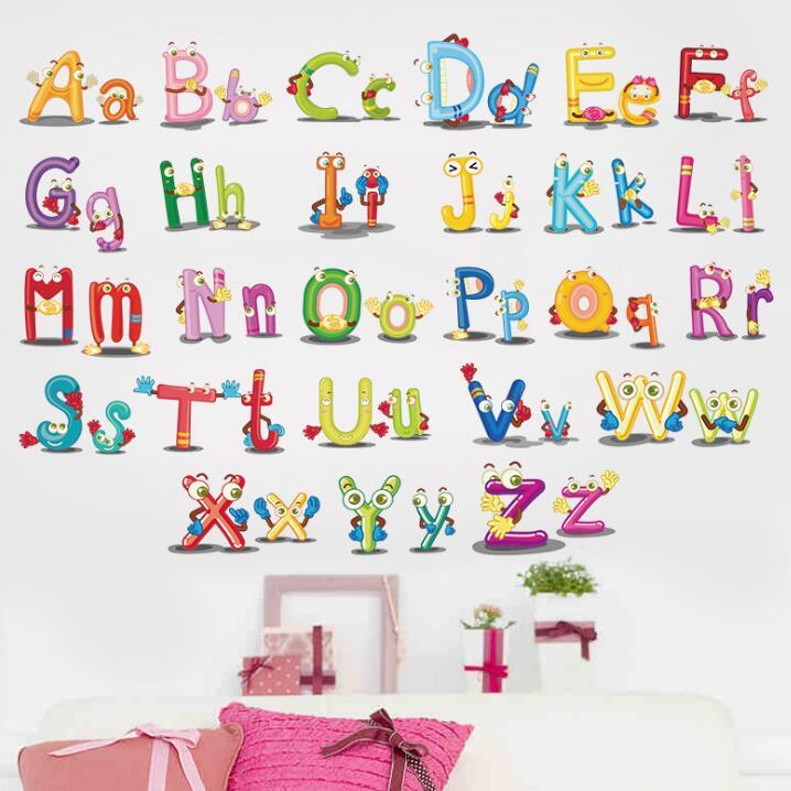 60*45 см выучить английский алфавит ванная комната детская кухня декоративные 3D настенные наклейки на стену спальни дома для детская комната