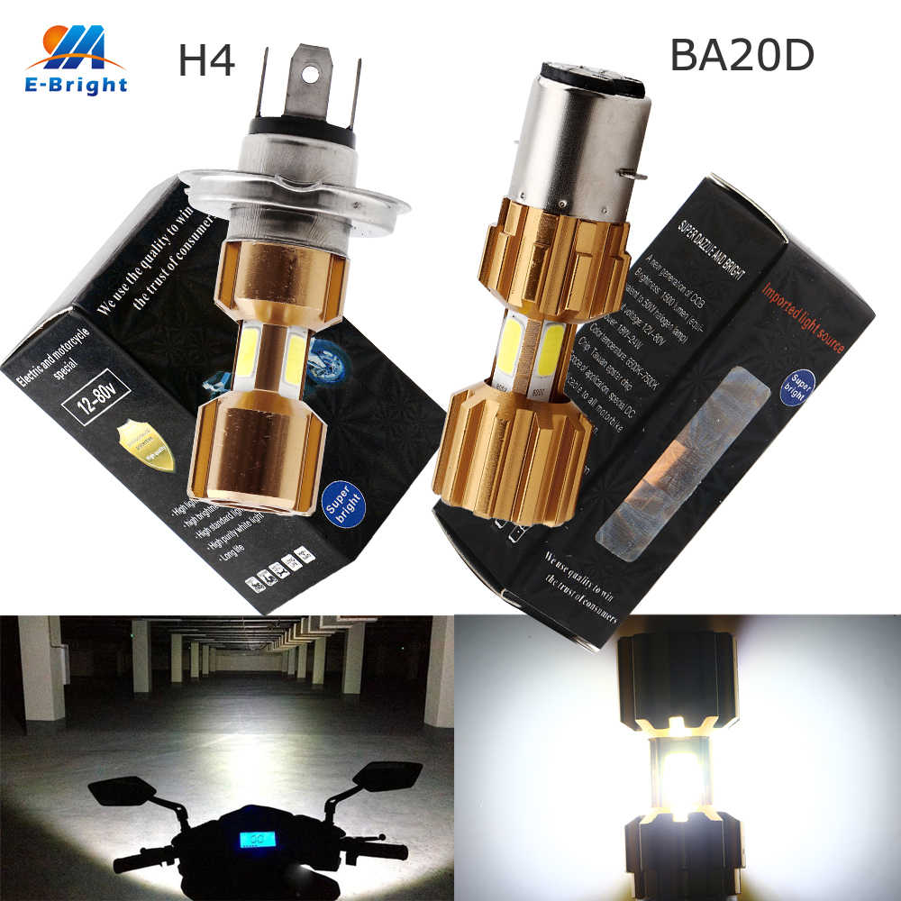 YM E-Bright 2PCS Motorcycle Headlamp H4 BA20D COB 18W High/Low Beam Led Bulbs 1200LM Headlight 9-80V Aluminium Scooter Autocycle