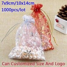 Sacos de embalagem de jóias acessórios contas malotes sacos de doces de natal cordão organza saco de presente floco de neve 1000 pçs/lote
