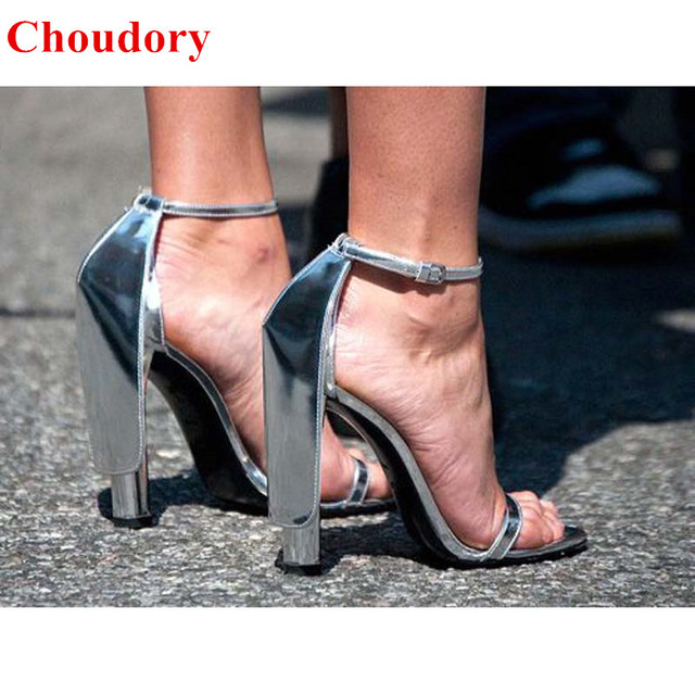 b2efe82ee9e Sexy Silver Strappy Gladiator High Heels Women Sandals Fashion Fabiana Open  Toe Chunky Heel Women Celebrity Pumps Shoes Size 43