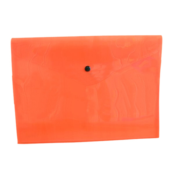 Wholesale 5pcs A Pack Of 12 Plastic Stud Document Wallets Folders Filing Paper Storage-orange-A4