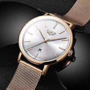 Image 4 - Ligeレディース腕時計トップブランドの高級防水腕時計ファッションの女性ステンレス鋼超薄型カジュアル腕時計クォーツ時計