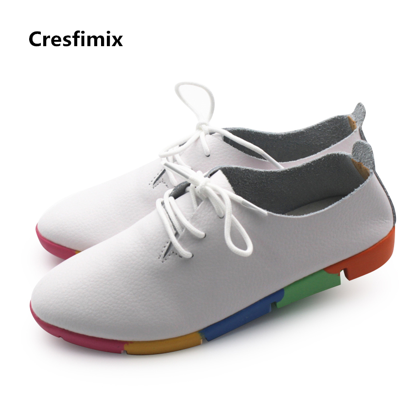 Cresfimix female genuine leather lace up shoes women casual white shoes lady soft comfortable leisure shoes zapatos de mujer hot sale genuine leather shoes women soft comfortable lace up zapatos mujer high quality fashion oxfords pigskin women s shoes