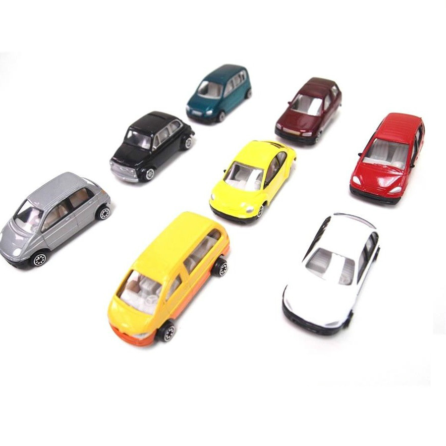 8Pcs 1:100 TT Scale Lighted Model Car with LEDs for Building Train Layout Toys