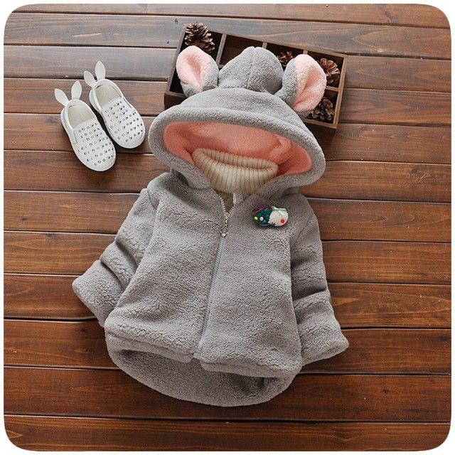 Cálido Invierno Bebé Niñas Bebés Fleece Niños Grande Del Oído Con Capucha espesar Nieve Wear Chaqueta Outwear Abrigo Casaco Roupas de Bebe S4167