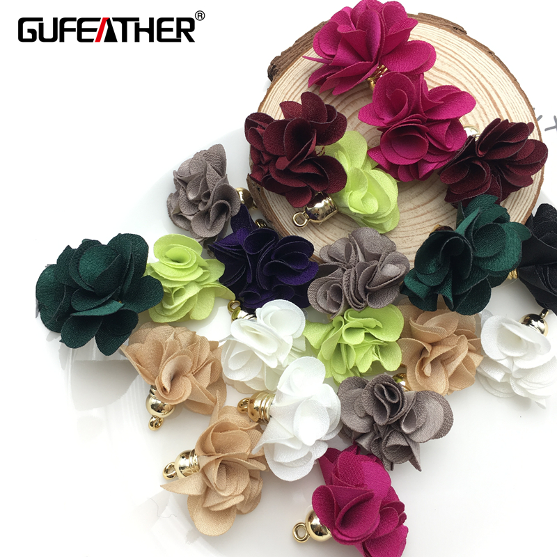 GUFEATHER/jewelry accessories/jewelry findings/jewelry making/Flower/Flowers pendant tassels/earrings accessories 10pcs/bag