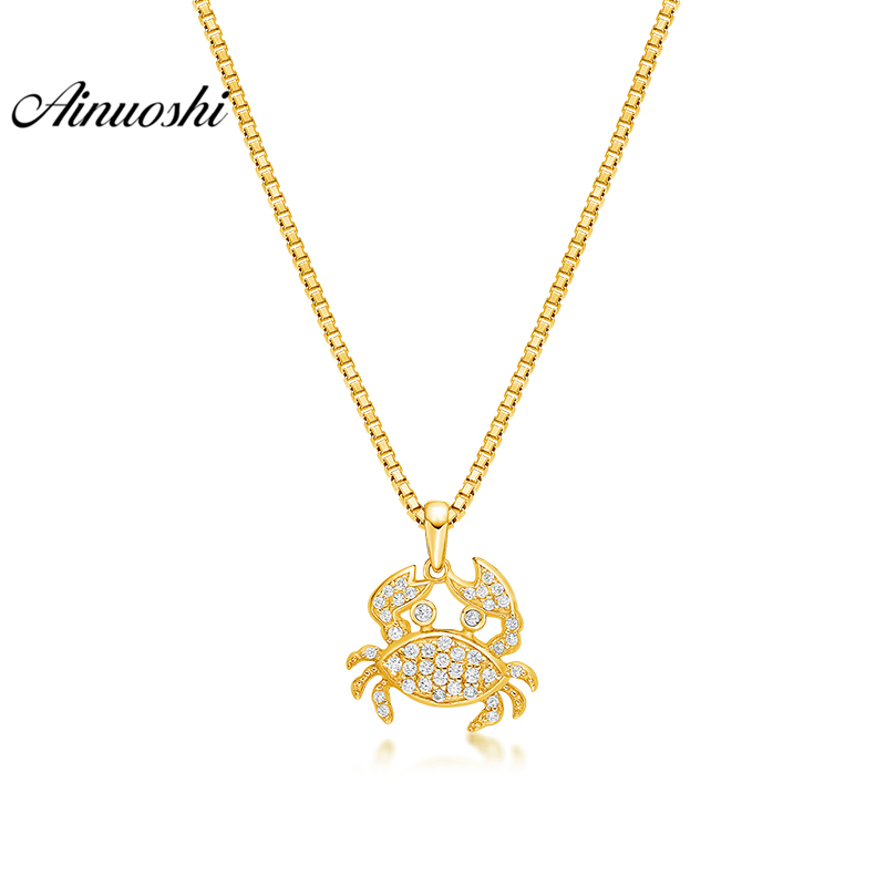 AINUOSHI 10K Solid Yellow Gold Pendant Cute Crab Pendant SONA Diamond Women Men Children Jewelry Little Animal Separate PendantAINUOSHI 10K Solid Yellow Gold Pendant Cute Crab Pendant SONA Diamond Women Men Children Jewelry Little Animal Separate Pendant