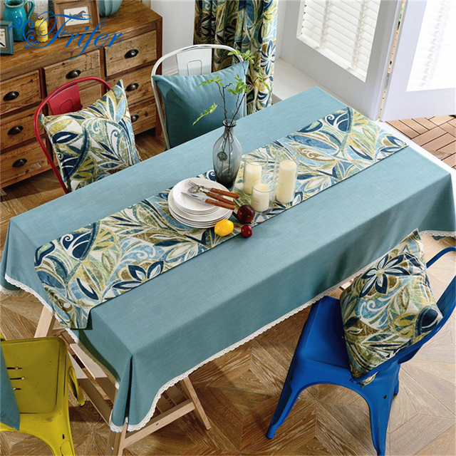 1pc European Solid Color Tablecloths Cotton Linen Table Cloth Wedding  Decoration Cloth Cover With Pastoral Floral
