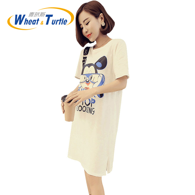 2016 Summer Maternity Dress Casual Fashion Soft Cotton Loose Maternity Dress Plus Size Cartoon Pattern Dress For Pregnant Women