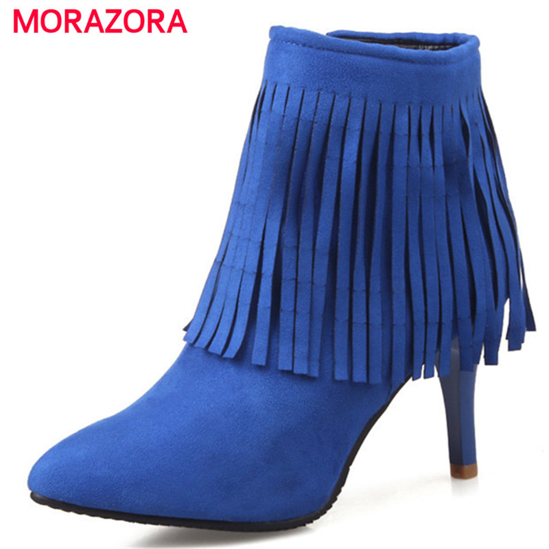MORAZORA Fashion boots spring autumn sexy lady thin heels shoes woman ankle boots for women tassel PU nubuck leatherMORAZORA Fashion boots spring autumn sexy lady thin heels shoes woman ankle boots for women tassel PU nubuck leather