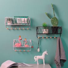 Ins Simple Nordic Wrought Iron Mesh Coat Hook Racks Creative Home Living Room Bedroom Wall Punch-free Wall-mounted Storage Rack deer animal head wall decoration sticky hook free punch display rack bathroom living room bedroom door key coat hanger