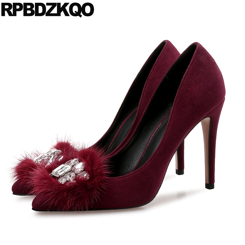 Crystal Size 4 34 Wine Red Thin Pumps Pointed Toe Plus Fur 33 12 44 Ladies Rhinestone 2017 Women Shoes Jewel High Heels 3 Inch 2017 high heels ankle strap pointed toe thin zipper plus size ultra wine red unique pumps green shoes for women 9 40 sexy