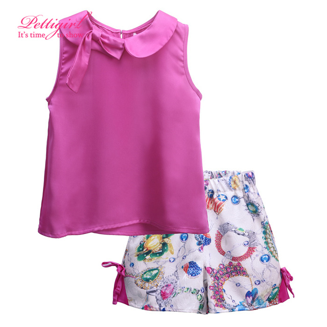 New Retail Hot  Pink Print Girl Suits Turn Down Collar  Kids Clothing Set Vest And Flower Shorts Fashionable Bow Children Wear