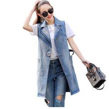 Bust(96-130cm) XS-3XL Spring New 2018 Plus Size Summer Jacket Sleeveless Cardigan Ladies Jeans Waistcoats Long Denim Vest Women