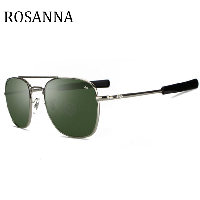 37497ef54da ROSANNA New Army MILITARY AO Sunglasses American Optical Glass Lens Alloy  Frame vintage Pilot style Sunglasses