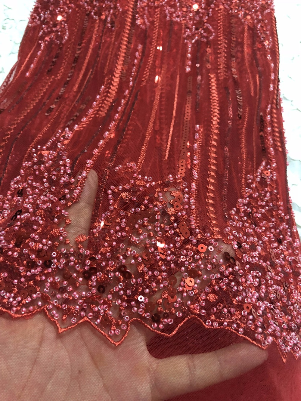 Red Color New Design African Lace Fabrics High Quality French Lace Fabric For Party Dress Nigerian Beaded Lace Fabric ZD003