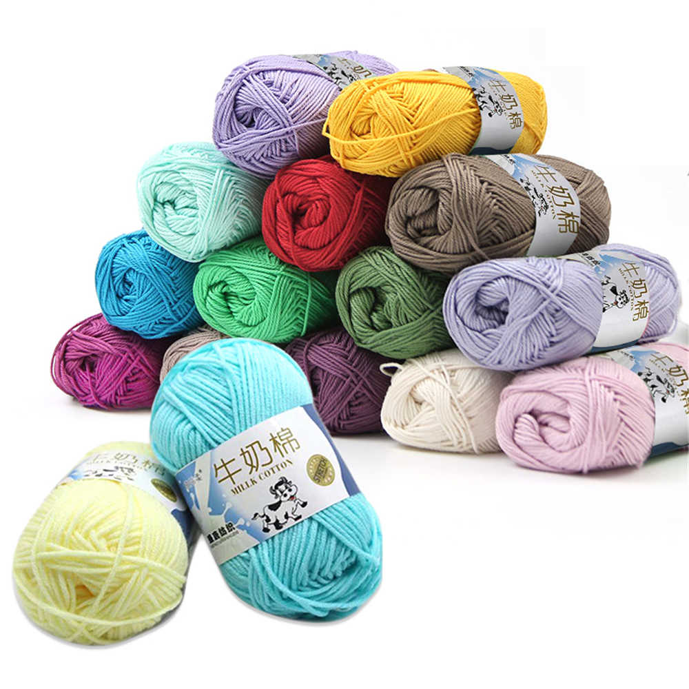 50g/ball 100% Ring Spun Cotton Soft Wool Yarn 5 Ropes Combed Baby Milk Cotton Yarn for Knitting Hand Knitted Blanket Cowls Socks