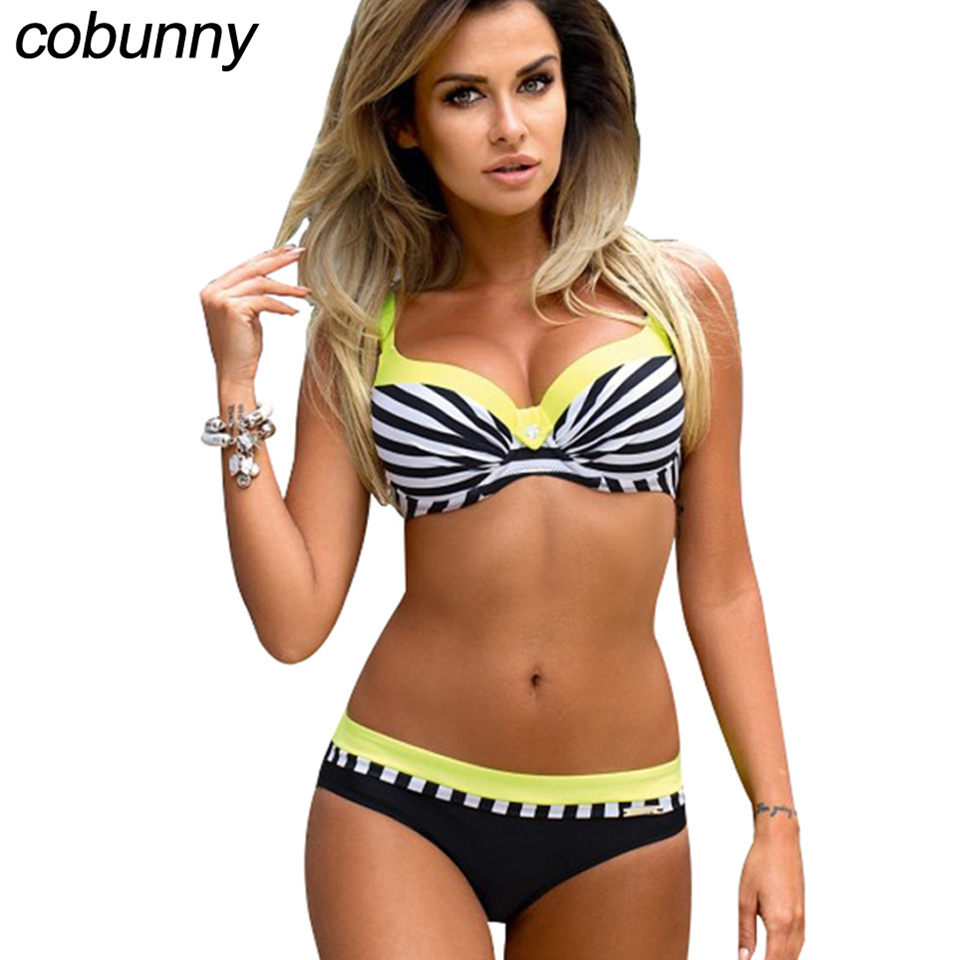 Cobunny Women Swimwear Sexy Push Up Bikini Set Plus Size Swimsuit Female Patchwork Beach Wear Bathing Suit Female Biquini стоимость
