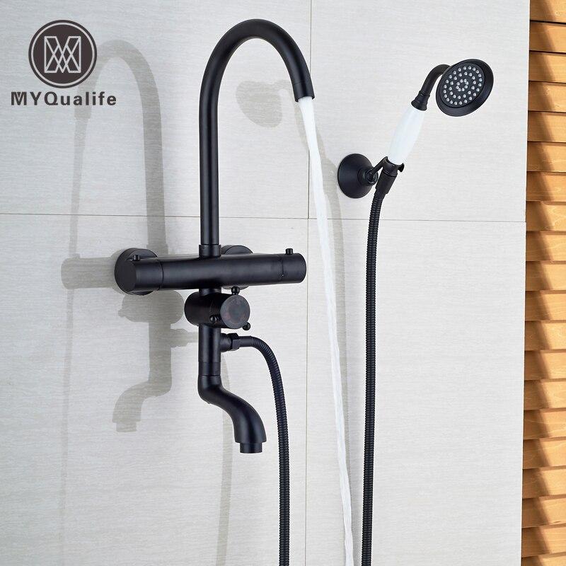 Modern Thermostatic Mixer Shower Faucet Set Dual Handle Temperature Control Anti-scald Bath Shower Mixer Taps Rotate Tub Spout