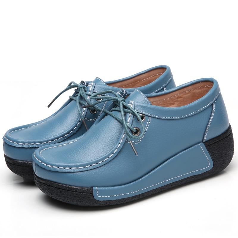 JZZDDOWN genuína mulher sapatos de Couro plataforma