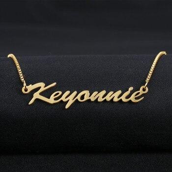 6462851667cf Joyería personalizada cualquier nombre personalizado collares de los  hombres de las mujeres de plata de oro rosa gargantilla collar grabado  hecho a mano de ...