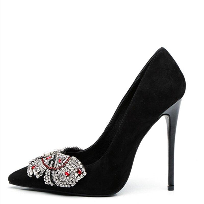 2019 nouveau bout pointu cristal talons hauts chaussures femme jaune daim noeud papillon pompes dames mode fête robe de mariée chaussures