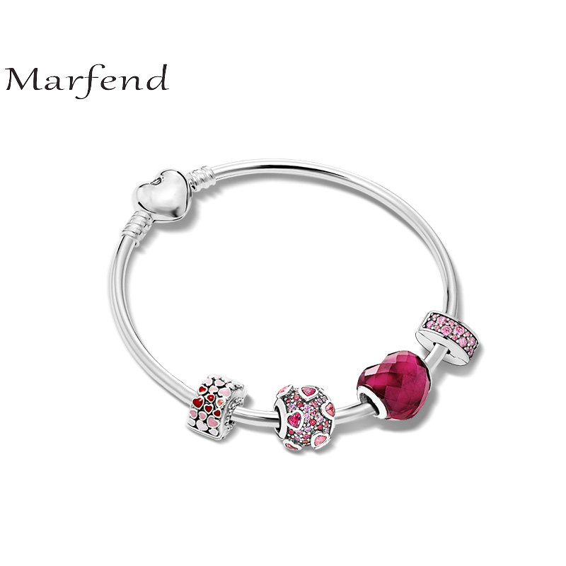 Marfend 2018 Fashion Jewelry Love Charm Bracelets &heart Bangles For Women Crystal Beads Fit Pandora Bracelet rock style star bee heart faux crystal charm bracelet for women