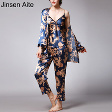 Jinsen Aite 3 Pieces Silk Pajamas For Women 2019 Spring Autumn Sleepwear Sets Print Sexy Large Size Home Clothes Nightwear JS739