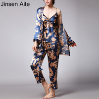 Jinsen Aite 3 Pieces Silk Pajamas For Women 2019 Spring Autumn Sleepwear Sets Print Sexy Large Size Home Clothes Nightwear JS739