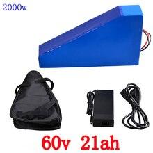 60 V треугольная батарея 60 v 20ah электрическая велосипедная батарея 60 V 21AH литий-ионная аккумуляторная батарея 67,2 V 2A зарядное устройство и бесплатная сумка