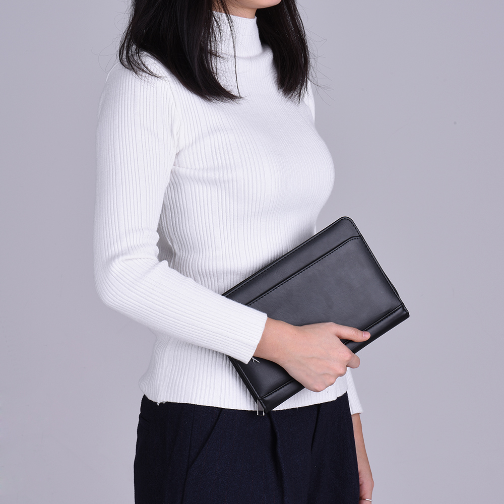 Portable Business Portfolio Padfolio Folder Document Case Organizer A5 PU Leather with Business Card Holder