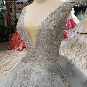 Image 5 - HTL057 beaed prom dress with train v neck sleeveless lace up v back ball gown party formal dress 2020 vestido de festa longo