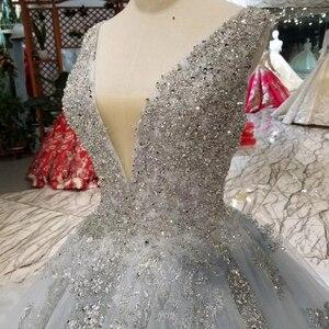 Image 5 - HTL057 beaed 電車 v ネックノースリーブ v バック夜会服パーティーフォーマルドレス 2020 vestido デ · フェスタロンゴ